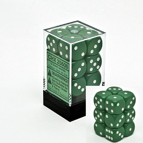Opaque 16mm d6 Green w/White Dice Block 12 pipped dice