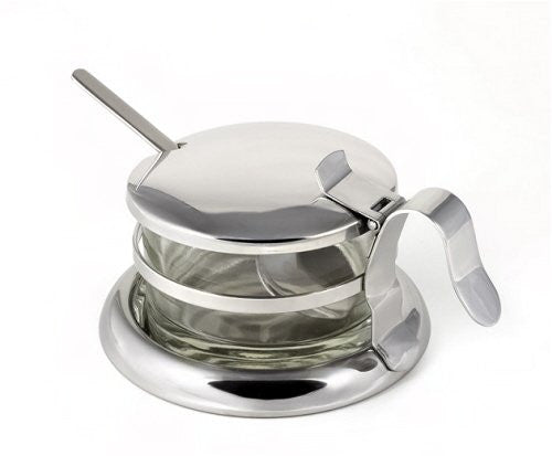 Stainless Steel Salt Server / Cheese Bowl / Condiment Serving Bowl & Spoon Set - Fine StainlessLUX Serveware for Your Home