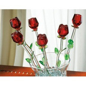 RED BOUQUET S/6 W/ VASE GB