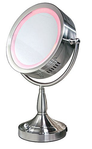 Zadro Products Lighted 8X/1X Round Satin nickel Vanity Mirror