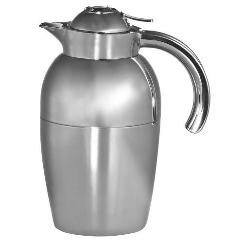 Oggi Senator Carafe with Press Button Top and Glass Liner, 1-Liter, Silver