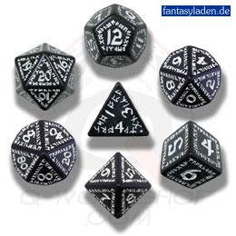 Black & White Runic Dice (set of 7)