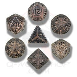 Transparent & Black Elvish Dice (set of 7)