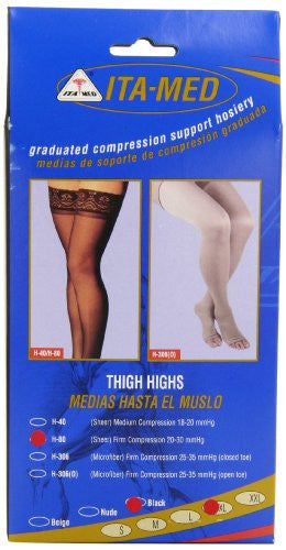 ITA-MED Graduated Compression Thigh Highs 20-30 mmHg  (Sheer with Lace Top and Silicone Band)