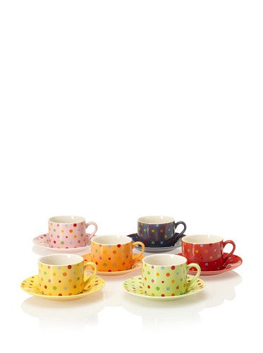 POLKA DOTS CUP & SAUCER 7.0 oz (Set of 6)