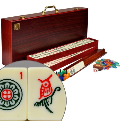 American Mahjongg Set Red Wood Case ''The Classic''