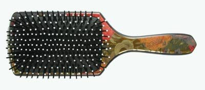 Floral Design Paddle Hair Brush w/ Ball Tipped Pins