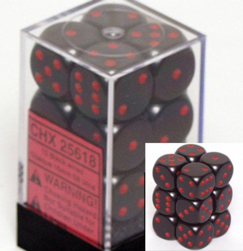 Chessex Dice d6 Sets: Opaque Black with Red - 16mm Six Sided Die (12) Block of Dice
