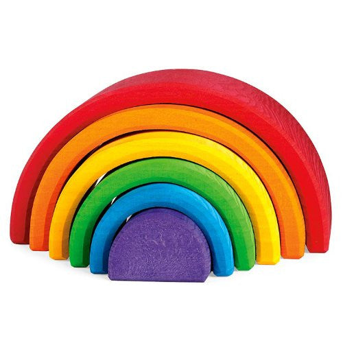 "Grimm's Large 6-Piece Solid Wood RAINBOW Stacker - Nesting ""Element"" Sculptural Blocks"