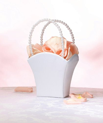 Plain Satin Flower Basket-White