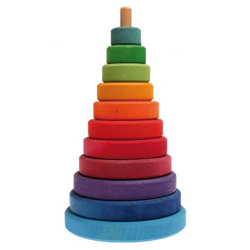 Grimm's Large Wooden Conical Stacking Tower, 11-Piece Rainbow Colored Stacker