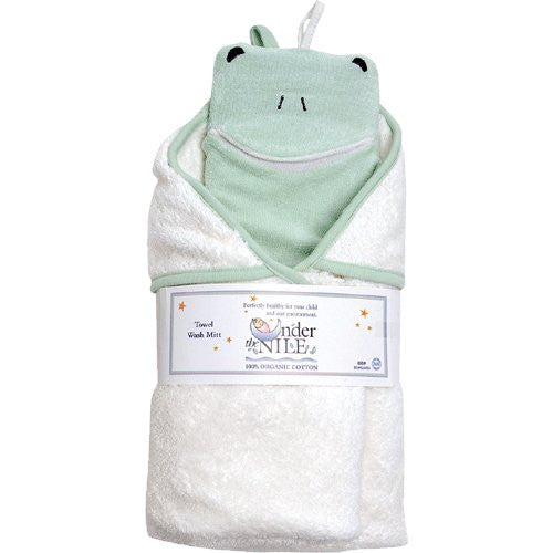 Organic Cotton Hooded Towel & Wash cloth - Frog