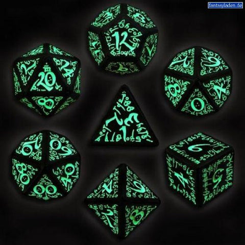 Black & Glow-in-the-Dark Elvish Dice (set of 7)
