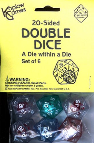20 SIDED DOUBLE DICE   -6/bag, assorted