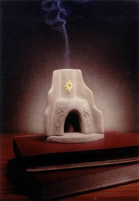 Southwest Corner Fireplace Burner With Pinon Natural Wood Incense - Incienso De Santa Fe