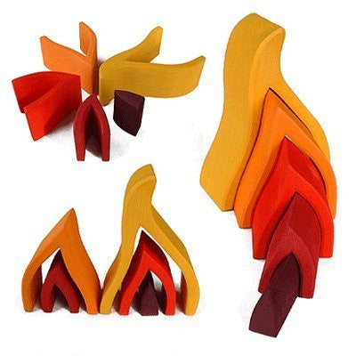 "Grimm's Small Flames Nesting Wooden Blocks Stacker, ""Elements"" of Nature: FIRE"