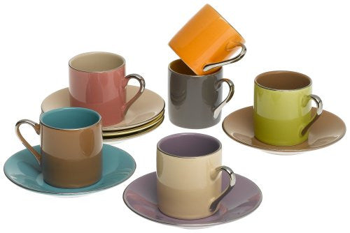 Siena Espresso Cups and Saucers, Set of 6