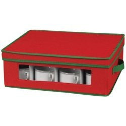 Red and Green China and Crystal Storage Boxes (Size: Cup)