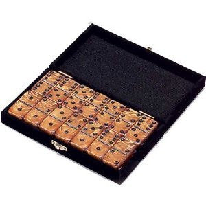"GOLD  DOUBLE SIX DOMINOES   Professional Size  (2"" x 1"" x ½"") 54 x 28 x 12mm IN A VELVET BOX"