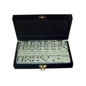 "WHITE DOUBLE SIX DOMINOES WITH SPINNERS (2"" X 1"" X ½"")  54 x 28 x 12mm IN A VELVET BOX"