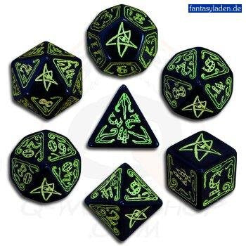COC Black & Green Dice (set of 7)