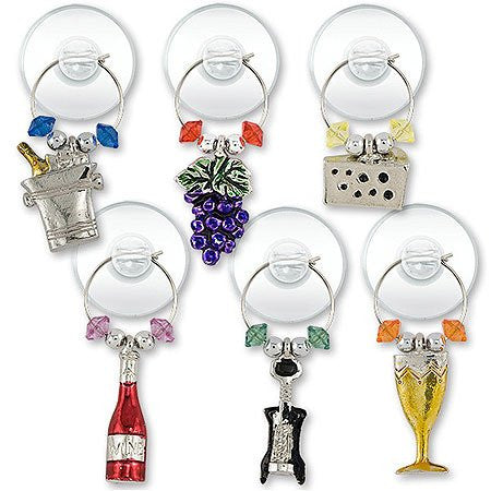 Silver-Plated Wine Party Suction Cup My Glass Charms
