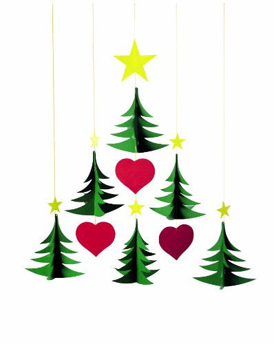Flensted Mobiles Nursery Mobiles, 6 Christmas Trees
