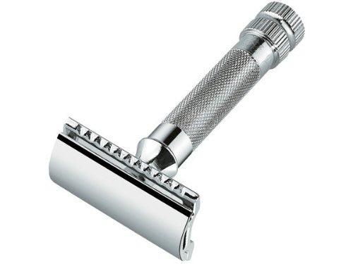 Merkur Safety razors with short handle in cardboard box with 1 sample blade, chrome-plated, straight cut