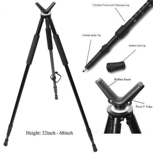 "Shooting Tripod with V Yoke. 3 Sections. Adjustable Height from 25"" to 68"""