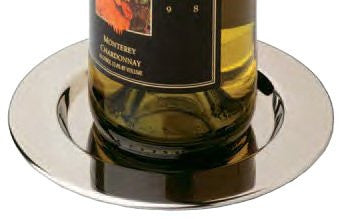 Pratique Wine Bottle Coasters, Stainless Steel, Set of 4
