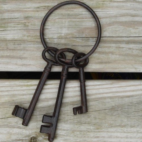 Pirate Ship Skeleton Jail Keys Set - Cast Iron Costume Prop