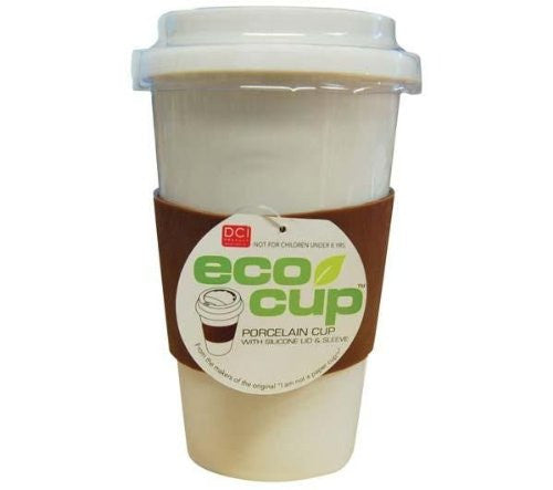 Eco Cup w/ Silicone Lid & Sleeve Coffee Tea i am not a paper cup look-a-like white porcelain travel mug (Colors May Vary) (Color: White)