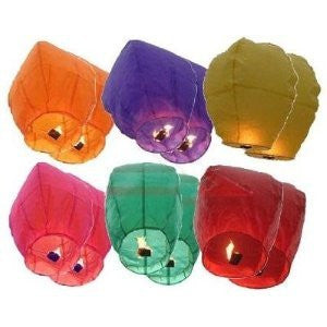 "40"" Tall Premium SKY LANTERNS - Fully Assembled - Flame Retardant - 100% Biodgradable (Size: Color: Assorted Colors)"