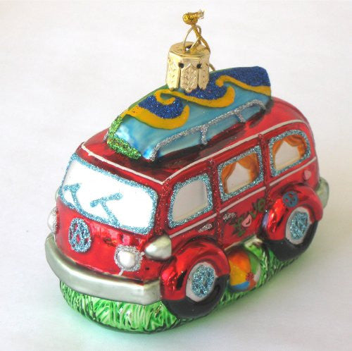 Blown Glass Ornament - Van With Surfboard