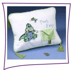 Dinosaur Tooth Fairy Pillow with Tooth Pouch