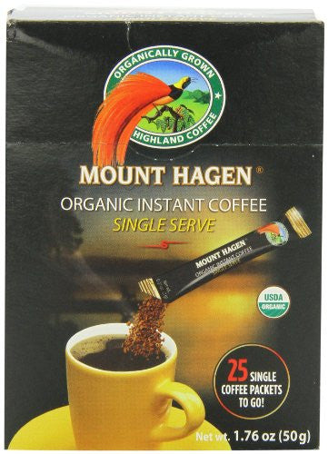 MOUNT HAGEN Organic 25 Single Serve Instant Coffee Sticks