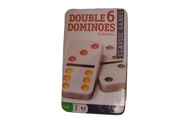 Dominoes - Plastic Double 6 Color Dot Dominoes in Tin