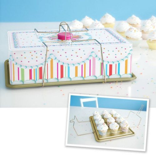 "GVB Cupcake Carrier, Holds 12 Cupcakes, Tin, 15.75"" x 11.75"""