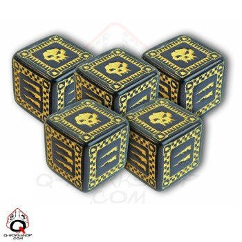 Black & yellow d6' Ork Dice (set of 5)