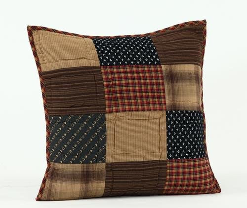Patriotic Patch Pillow Quilted 16x16""