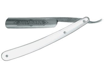 "Dovo Best Quality, Full Hollow Carbon Steel, 5/8"", White Handle"