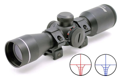 Compact crossbow scope 4x32CBT, Green/Red illuminated multi-line reticle
