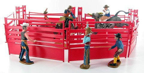 Western Rodeo Deluxe Playset - Bullriders, Clowns, Red / Blue Fence