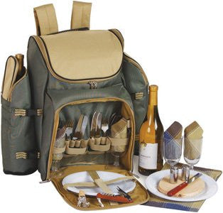 Tandoor 4 Person Deluxe Picnic Backpack Sage