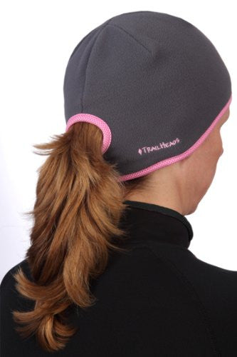 Goodbye Girl Ponytail Hat, charcoal, pink trim