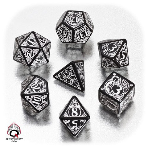 Black & white Steampunk Dice (set of 7)