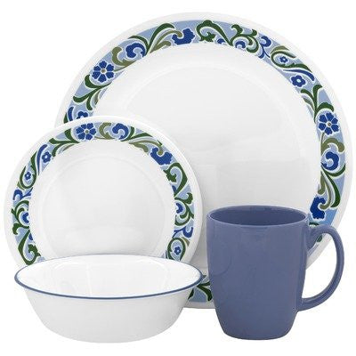 Corelle Contours Serenity 16-Piece Dinnerware Set, Service for 4
