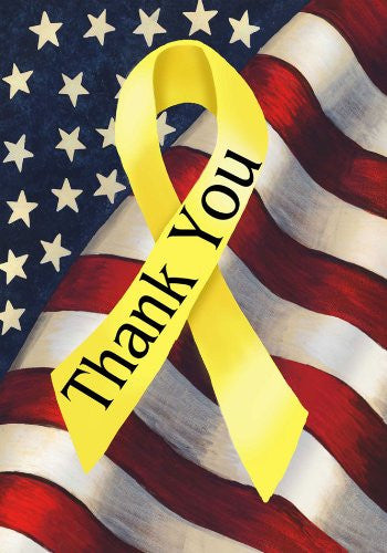 Patriotic Thank You Yellow Ribbon Decorative Garden Size Flag 12 Inch X 18 Inch