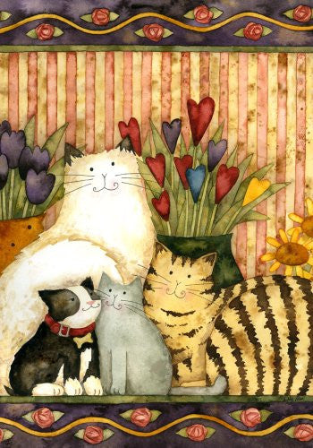 Cats in the Parlor Garden Flag Mini Flowers Colorful