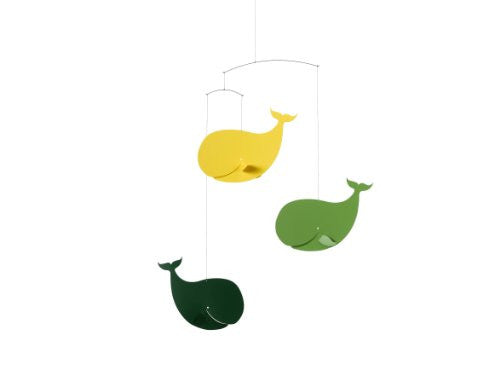 Flensted Mobiles Happy Whales, YellowGreen Mobile